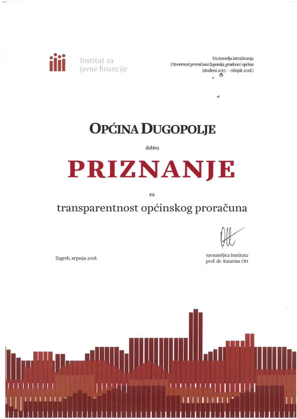 Općina Dugopolje dobila priznanje za transparetnost općinskog proračuna