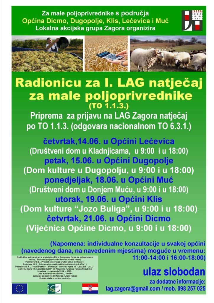 LAG Zagora organizira Radionicu za I. LAG natječaj za male poljoprivrednike (TO 1.1.3.)