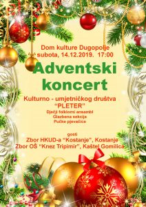 Adventski koncert KUD-a Pleter i gostiju 14.12.2019. u 17 sati Plakat koncerta