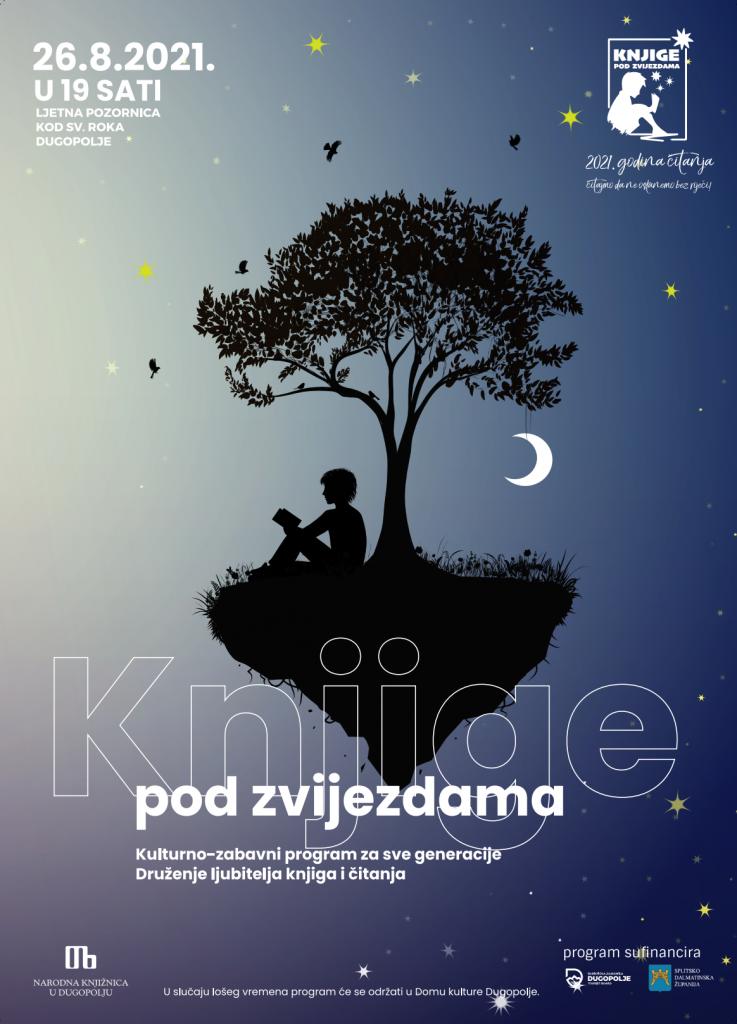 Pridružite nam se u druženju s knjigama pod zvijezdama slika plakata